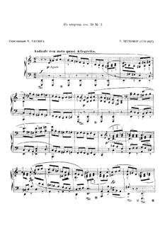 String Quartet No.9 in C Major, Op.59 No.3: Fragment, for piano by Ludwig van Beethoven