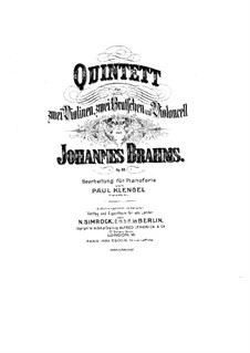 String Quintet No.1 in F Major, Op.88: Version for piano by Johannes Brahms