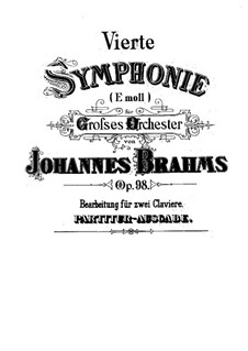Complete set: Version for two pianos four hands by Johannes Brahms