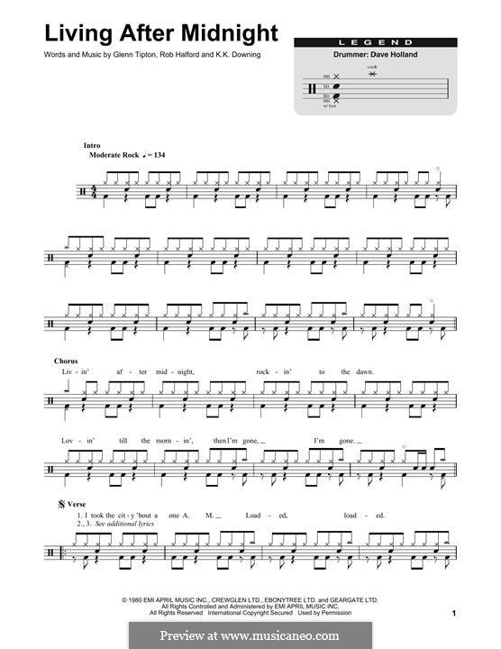 Living After Midnight (Judas Priest): Drum set by Glenn Tipton, K. K. Downing, Robert Halford