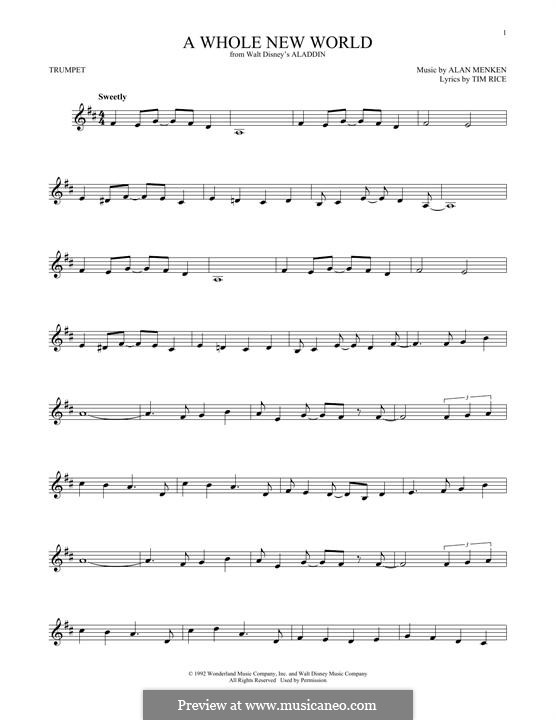 A Whole New World (from Aladdin): For trumpet by Alan Menken