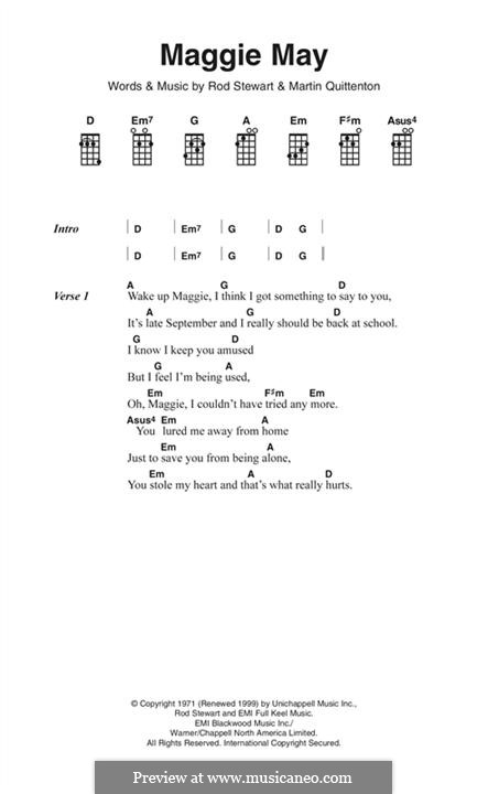 Maggie May: Lyrics and chords by Martin Quittenton, Rod Stewart