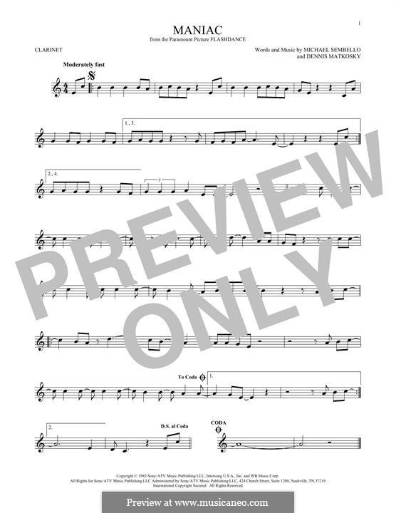 Maniac: For clarinet by Dennis Matkosky, Michael Sembello