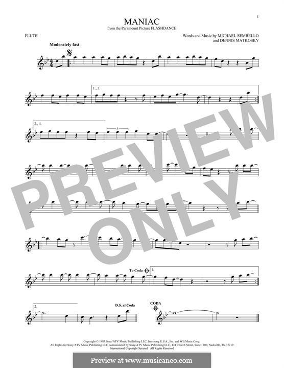 Maniac: For flute by Dennis Matkosky, Michael Sembello