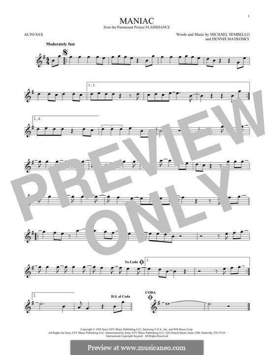 Maniac: For alto saxophone by Dennis Matkosky, Michael Sembello