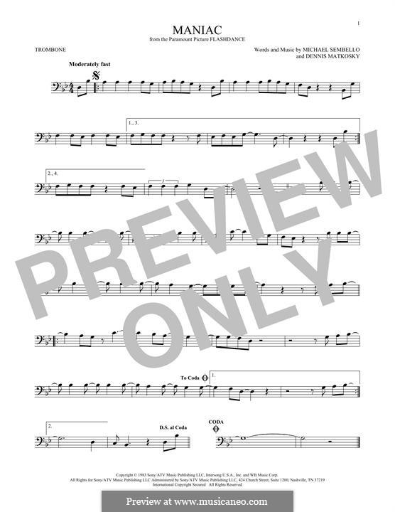 Maniac: For trombone by Dennis Matkosky, Michael Sembello