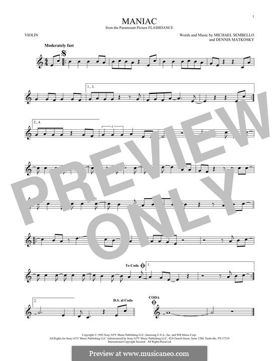 Maniac: For violin by Dennis Matkosky, Michael Sembello