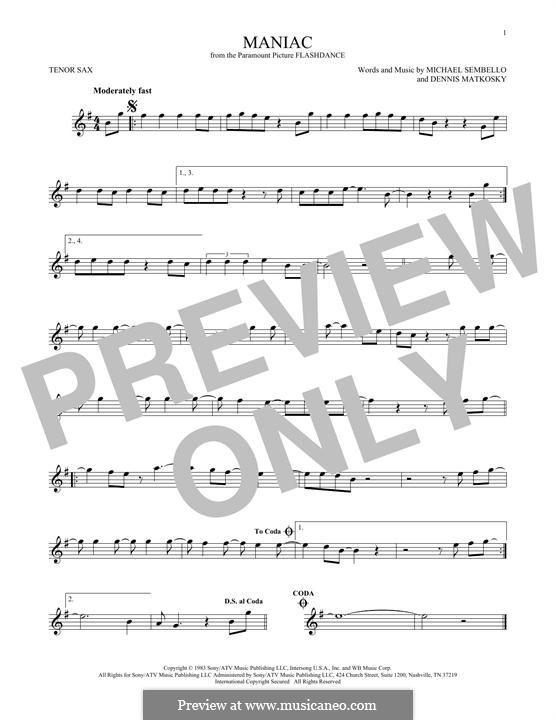 Maniac: For tenor saxophone by Dennis Matkosky, Michael Sembello