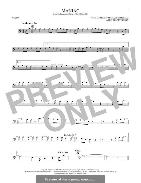 Maniac: For cello by Dennis Matkosky, Michael Sembello