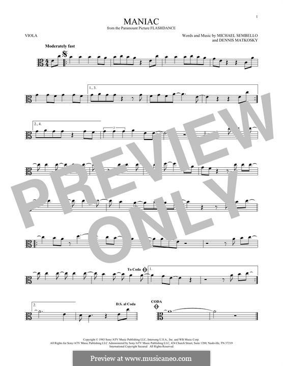 Maniac: For viola by Dennis Matkosky, Michael Sembello