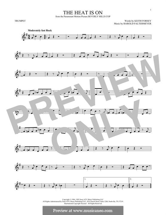 The Heat Is on (Glenn Frey): For trumpet by Harold Faltermeyer, Keith Forsey