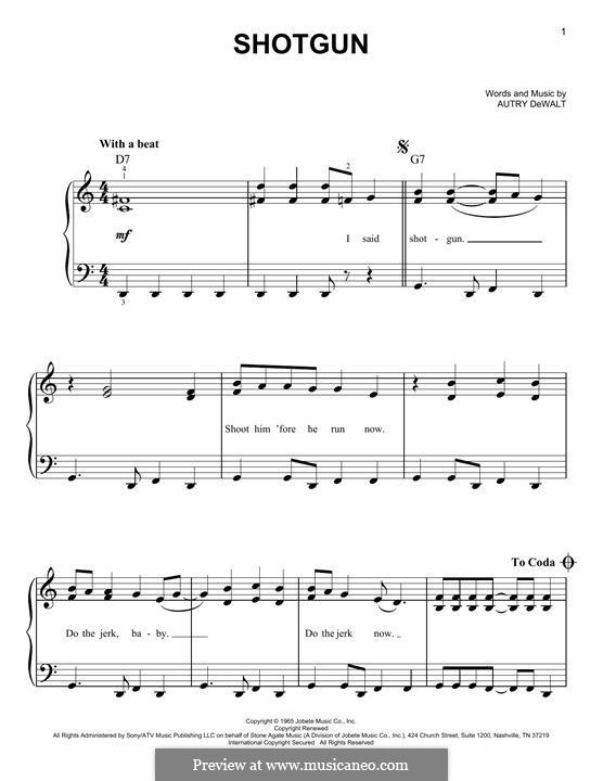 Shot Gun (Junior Walker & The All-Stars): For piano by Autry DeWalt