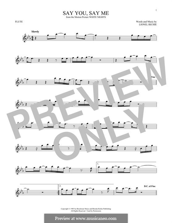 Say You, Say Me: For flute by Lionel Richie