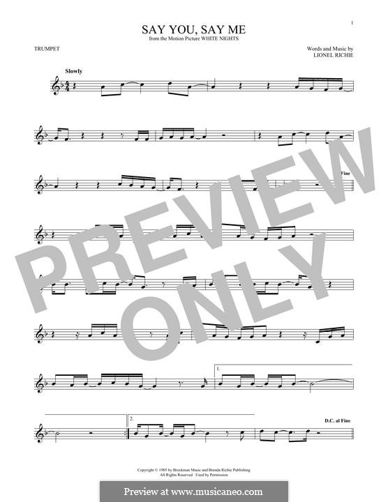 Say You, Say Me: For trumpet by Lionel Richie