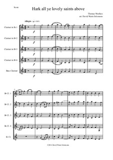 Hark All Ye Lovely Saints: For clarinet quintet by Thomas Weelkes