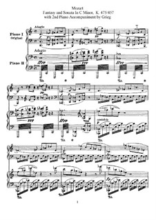 Sonata for Piano No.14 in C Minor, K.457: Arrangement for two pianos four hands by Wolfgang Amadeus Mozart