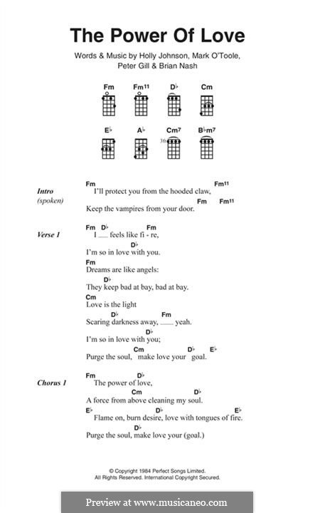 The Power of Love (Frankie Goes To Hollywood): Lyrics and chords by Brian Nash, Holly Johnson, Mark O'Toole, Peter Gill
