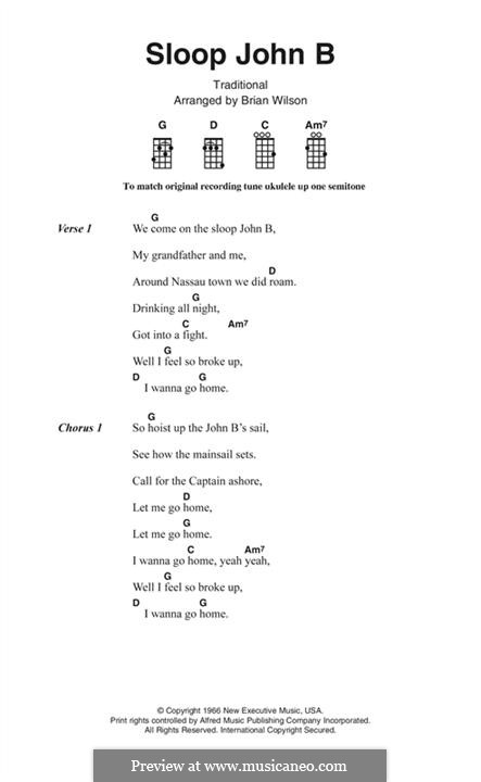 Sloop John B (The Beach Boys): Lyrics and chords by folklore