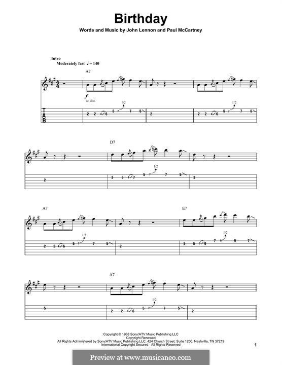 Birthday (The Beatles): For guitar with tab by John Lennon, Paul McCartney
