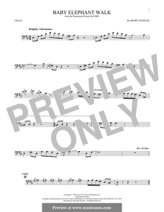 Baby Elephant Walk: For cello by Henry Mancini