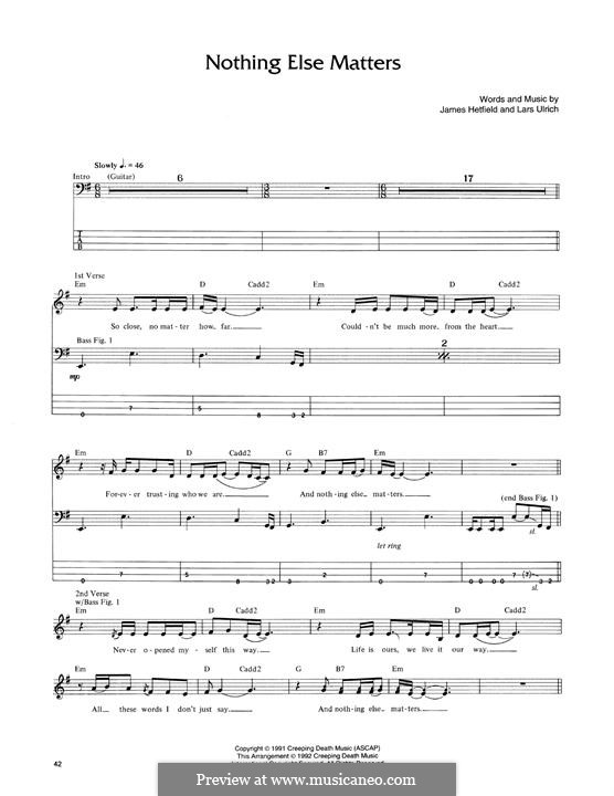 Nothing Else Matters (Metallica): For bass guitar with tab by James Hetfield, Lars Ulrich