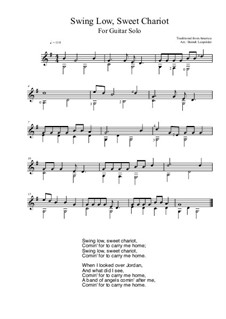 Swing Low, Sweet Chariot: For guitar solo (G Major) by folklore