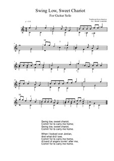Swing Low, Sweet Chariot: For guitar solo (C Major) by folklore