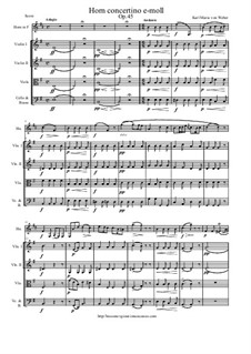 Concertino for Horn in E and Orchestra, J.188 Op.45: Version for horn and string orchestra - score and parts by Carl Maria von Weber