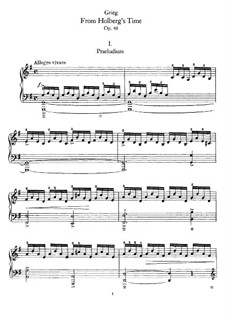 Fra Holbergs tid (Holberg Suite), Op.40: For piano by Edvard Grieg