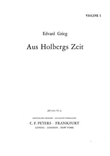 Fra Holbergs tid (Holberg Suite), Op.40: For string orchestra – violin I part by Edvard Grieg