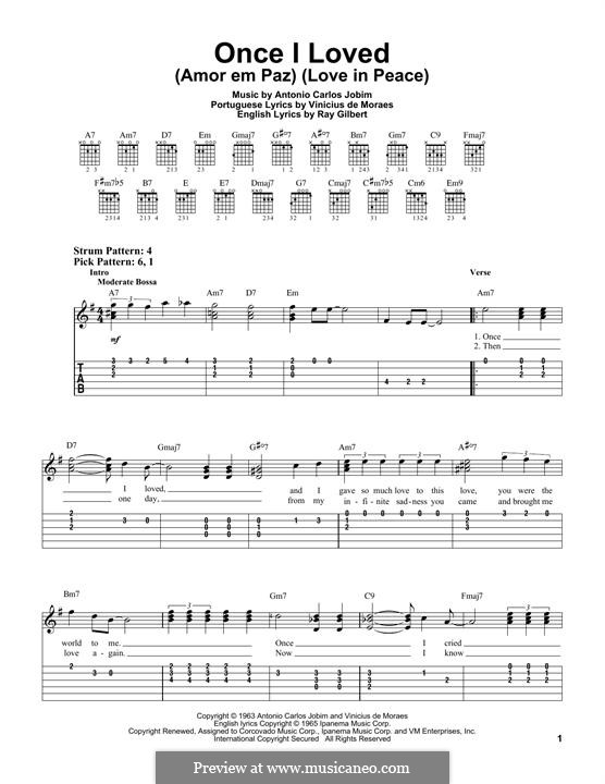 Once I Loved (Amor em Paz): For guitar with tab by Antonio Carlos Jobim
