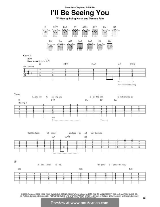 I'll Be Seeing You: For guitar with tab by Irving Kahal, Sammy Fain