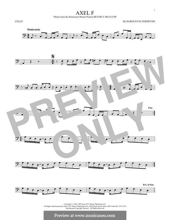 Axel F (from Beverley Hills Cop): For cello by Harold Faltermeyer