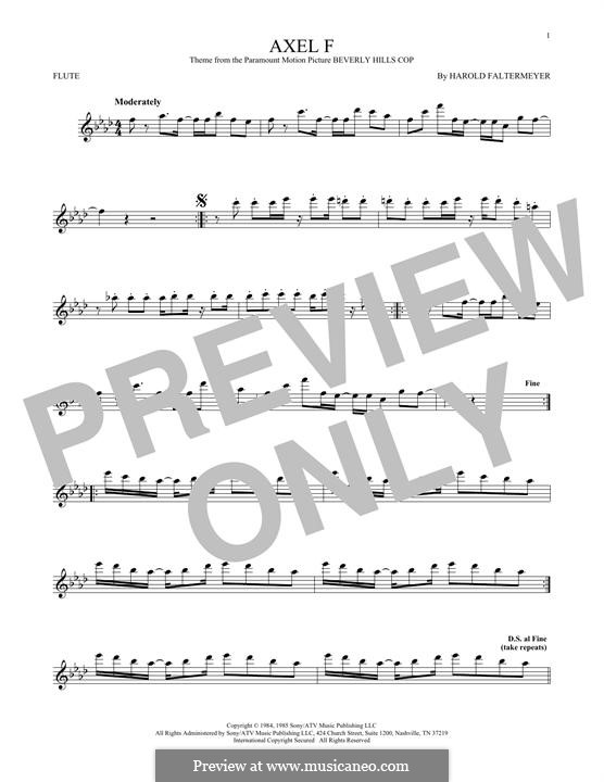 Axel F (from Beverley Hills Cop): For flute by Harold Faltermeyer
