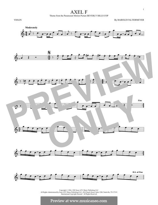 Axel F (from Beverley Hills Cop): For violin by Harold Faltermeyer