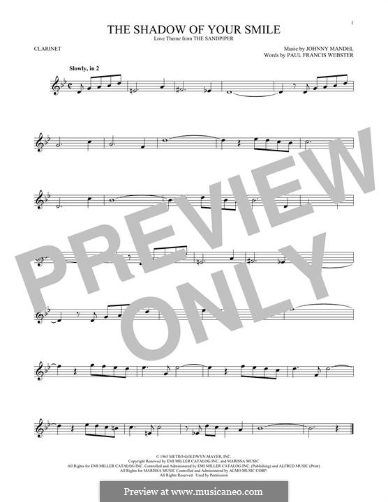 The Shadow of Your Smile (Tony Bennett): For clarinet by Johnny Mandel