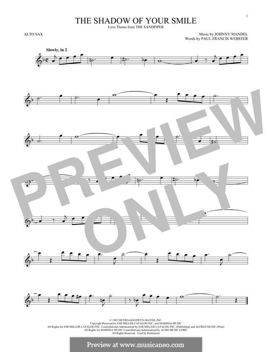 The Shadow of Your Smile (Tony Bennett): For alto saxophone by Johnny Mandel