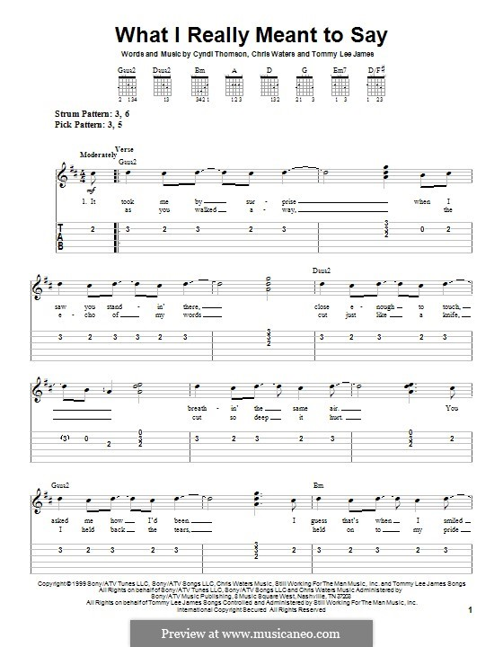 What I Really Meant To Say: For guitar with tab by Chris Waters, Tommy Lee James, Cyndi Thomson