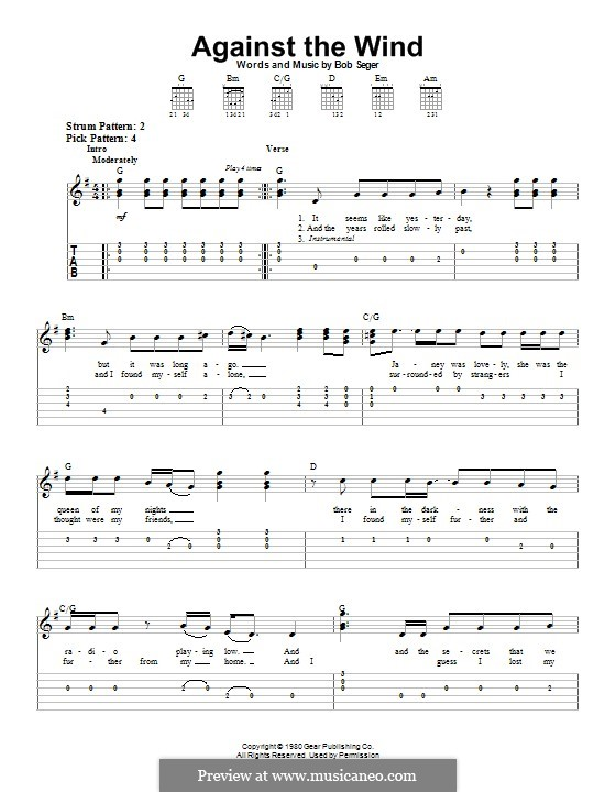Against the Wind (Bob Seger and The Silver Bullet Band): For guitar with tab by Bob Seger
