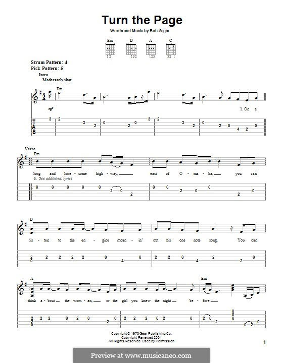 Turn the Page: For guitar with tab by Bob Seger