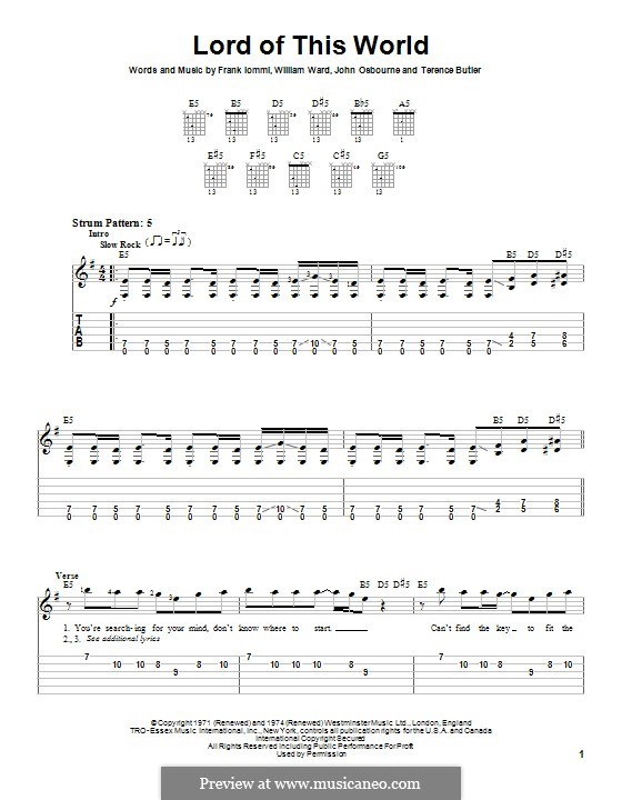 Lord of This World (Black Sabbath): For guitar with tab by Geezer Butler, Ozzy Osbourne, Tony Iommi, Bill Ward