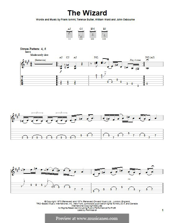 The Wizard (Black Sabbath): For guitar with tab by Geezer Butler, Ozzy Osbourne, Tony Iommi, Bill Ward