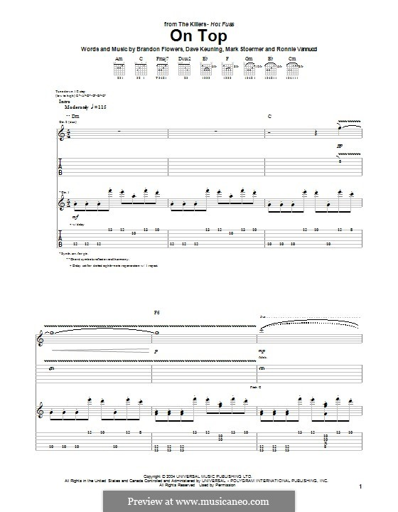 On Top (The Killers): For guitar with tab by Brandon Flowers, Dave Keuning, Mark Stoermer, Ronnie Vannucci