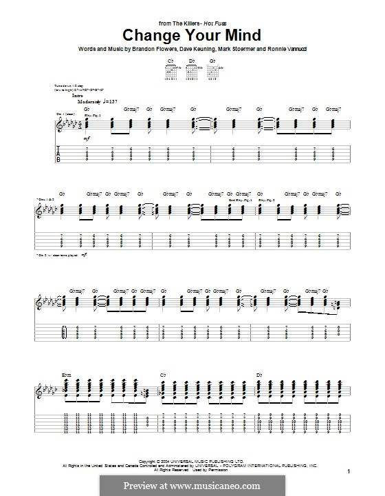 Change Your Mind (The Killers): For guitar with tab by Brandon Flowers, Dave Keuning, Mark Stoermer, Ronnie Vannucci
