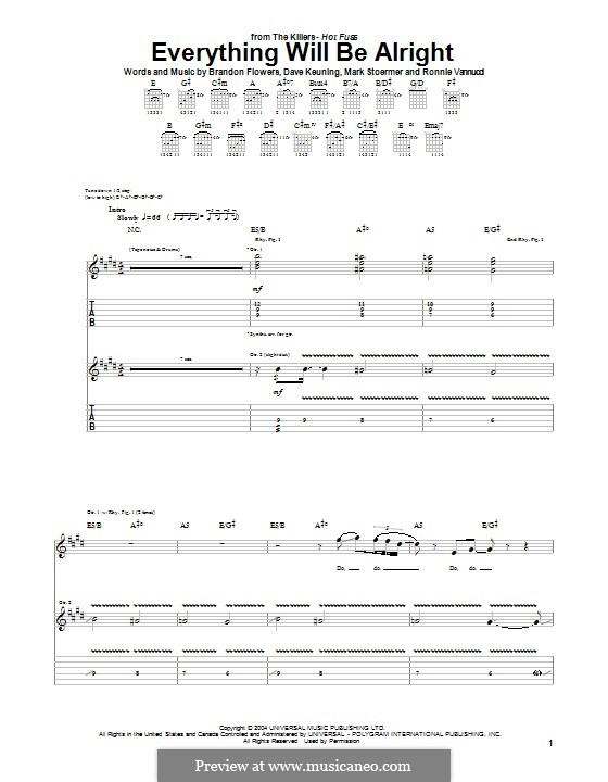 Everything will Be Alright (The Killers): For guitar with tab by Brandon Flowers, Dave Keuning, Mark Stoermer, Ronnie Vannucci