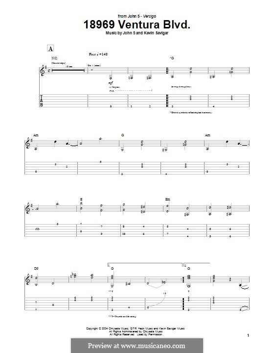 18969 Ventura Blvd. (John 5): For guitar with tab by Kevin Savigar