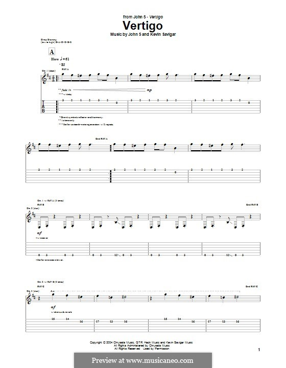 Vertigo (John 5): For guitar with tab by Kevin Savigar