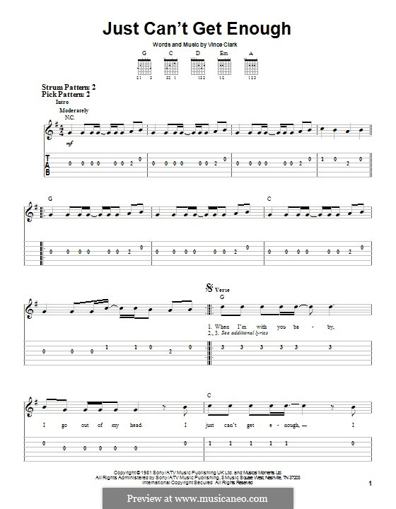 Just Can't Get Enough (Depeche Mode): For guitar with tab by Vince Clarke