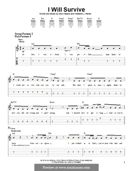 I Will Survive (Gloria Gaynor): For guitar with tab by Dino Fekaris, Freddie Perren