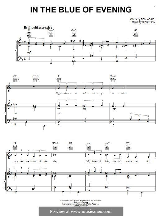 In the Blue of Evening (Frank Sinatra): For voice and piano (or guitar) by Alfonso D'Artega